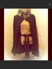 Preston & York Women's Black Fleece Cape Shawl Pancho With Faux Fur New