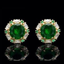 2.00ct Green Emerald Halo Marquise Created Crystal Stud Earrings 14k Yellow Gold