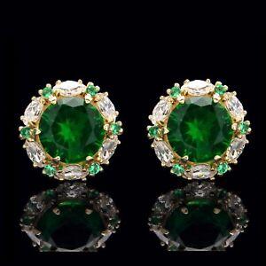 2.00CT Green Emerald Halo Marquise Created Diamond Stud Earrings 14k Yellow Gold