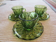 3  Anchor Hocking Green Fairfield Cups and Saucers