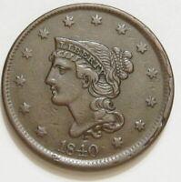 1840 Large Date Braided Hair Large Cent  N-8 Late Die State w/ Rim Cuds