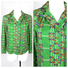 Vintage 70's Shirt Blouse Green Bright Silky Disco Boho Mod Gogo UK12/14 EU38/40