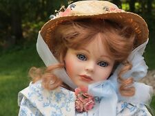 """New In Box Edna Dali For Seymour Mann Porcelain Doll 20"""" Red Hair Straw Bonnet"""