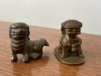 Pair Of Vintage Small Brass Fu Dog Figures China