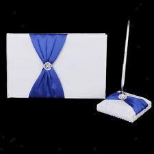 Guest Book and Pen Set Blue Bow Diamond Wedding Bridal Reception Decoration
