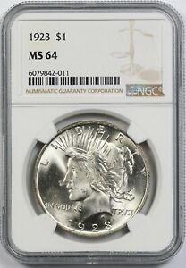 1923 $1 NGC MS 64 Peace Silver Dollar