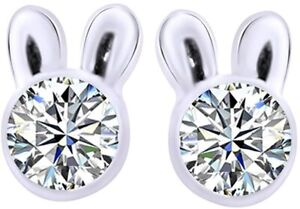 Round Cut Simulated Diamond Bunny Rabbit Stud Earrings 14k Gold Over Silver