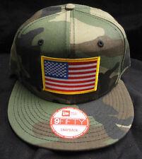 New Era NE400 Camo Snapback Hat/Cap With American Flag Gold Border Patch