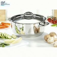 Chefset Stainless Steel Casserole and Lid 18cm Food Cookware Kitchen Home New