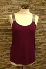 Brandtex Ladies Plum Viscose Vest Top with Silver Sparkle Straps Size Med New