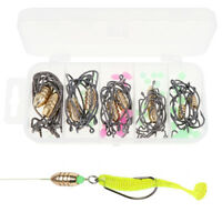 110x Texas Rig Soft Lures Hook Kit with Crank Hook Bullet Copper Luminous Beads
