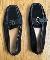 Tod's Loafers shoes driving Black Corduroy Buckle Women's Size 9.5