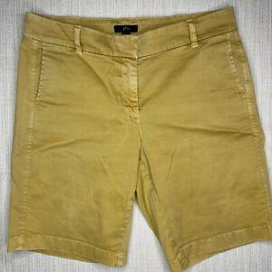 "J. Crew Size 8 10"" Bermuda Stretch Chino Shorts Mid Rise Cotton Casual Tan Brown"