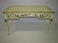 Baker Furniture Cream Lacquer Chinoiserie Style Writing Desk; Leather Top CE