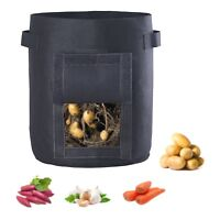 Hongville 1-3 Pack 7-Gallon Potato Grow Bags Aeration Fabric Pots w/Handles Flap