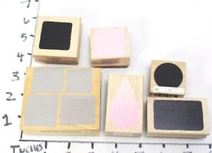 Wooden RUBBER STAMP Block Lot Backgrounds Textures Squares Dots Pedals Teardrop