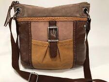 THE SAK Brown Color Block Leather & Suede Kendra Crossbody Messenger Bag