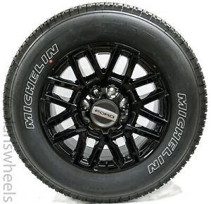 "4 New Takeoff Ford F250 F350 Super Duty 20"" Black Factory OEM Wheels Rims Tires"