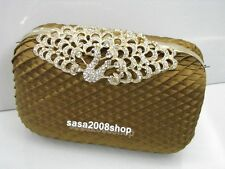 Light Brown~Peacock~Satin Cocktail  / Evening Purse Clutch Bag ☆Free shipping ☆