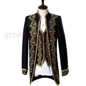 3PCS Mens Wedding Blazer Tuxedos Embroidery Tail Suits Show Coat Vest Pants size