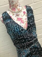 Savoir Turquoise & Black Dress Animal Print Sheer Lined Wedding Occasion Size 18