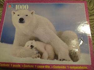 NEW POLAR BEAR MOTHER and CUB Milton Bradley Nature 1000 pieces Jigsaw Puzzle