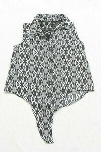 No Boundaries Black White Dress Shirt Top Size Large 11-13 Polyester Sleeveless