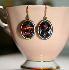 Vintage tortoiseshell glass cameo deco set artisan antiqued brass drop earrings