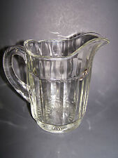 Antique Vintage Depression Clear Glass Ribbed Water Beverage Pitcher VG-EXC