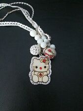 Betsey Johnson Kitty Cat Long Chain Necklace Rhinestones Jewels Wood & Beads