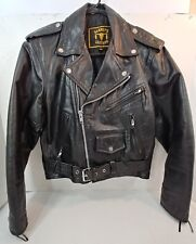 Barney's Leather BLACK Motorcycle Biker Jacket Coat Lined Snaps Zippers Mens 38