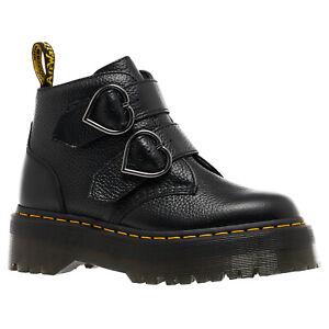 Dr. Martens Womens Boots Devon Heart Buckles Straps Goodyear-Welt Leather