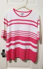 Liz Baker Sweater Shirt Top Blouse PLUS sz 2X Pink White Stripe Short Sleeve EUC