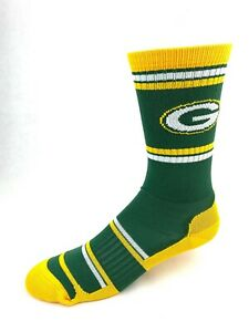 Green Bay Packers Football Green & Gold Compression Fit Deuce Crew Socks