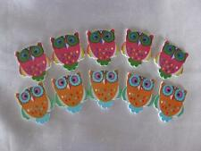 10 WOODEN OWL FLAT BACK EMBELLISHMENTS IN 2 COLOURS