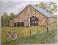 OLD BARN - US,small, art reproduction, artist, ink, realism, architecture