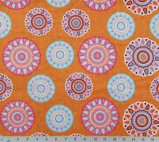 Quilt Cotton Fabric Aztec Colors Orange Turquoise White Mandala By The Half Yard