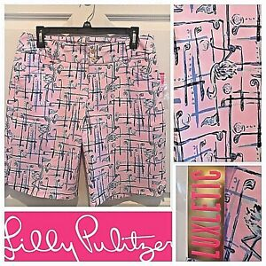 NWT Lilly Pulitzer UPF 50 Fairway Perf Short 2 in Talk Birdie To Me Pink Tropics