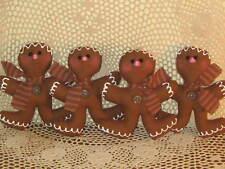 Set of 4 handmade Christmas Prim Gingerbread ornaments wreath-making Home Decor