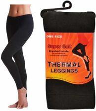 Ladies Thermal Brushed Legging Winter Warm Leggings One Size Black