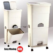 Kitchen Bathroom 40L Plastic Trash Bin 3 Compartment Recycling Waste Bin DIY