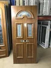 NEW UPVC Door Panel, OAK/WHITE 705mm Wide By 1645mm Height, 28mm Thick, (P490)