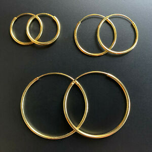 14k Gold over 925 Sterling Silver 1.5mm Endless Hoop Earrings All Sizes