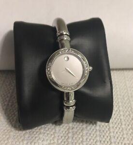 Movado Bareleto Woman's Watch Diamond & Amber Mirror Dial Cuff Bracelet New Batt