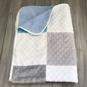 """Just Born BABY BLANKET Color Block Blue Gray White Minky Dot Blue Sherpa 30x40"""""""