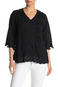 Johnny Was Womens Top Small Embroidered Boho Milani Black Embroidered Top Casual