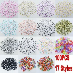 100pcs 6/7mm Acrylic Mixed Alphabet Letter Coin Square/Round Flat Spacer Beads