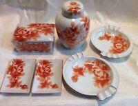 Vintage Ceramic Japanese Style Smoking Set 8 Pieces Cigarette Box Ashtrays
