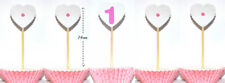 Set of 5 Heart Cake Toppers Decoration 1st Birthday Party Girl Pink Number 1 One