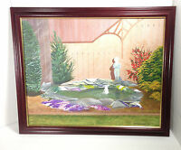 Painting on Canvas Art of Beautiful Garden & Pond Signed 16x20 Framed